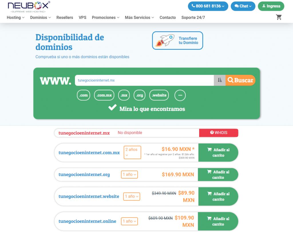 Disponibilidad de dominios con Neubox